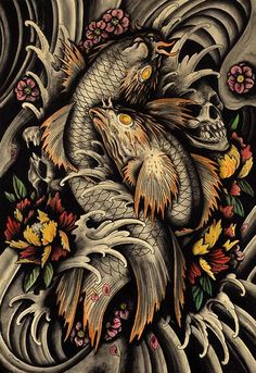 Transition Of Life by Clark North Koi Pond Skulls Tattoo Art Print