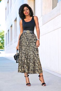 Style Pantry | Fitted Tank Top + Tiered Metallic Midi Skirt