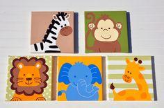 5 Piece Original Painting Canvas Animal Nursery Set- Lion, Monkey, Elephant, Giraffe, and Zebras OH MY. $125.00, via Etsy.