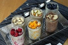 Overnight, No-Cook Refrigerator Oatmeal A healthy breakfast made in mason jars in six different flavors! These were some great recipes! I didn't use chia seeds like she does because I'm not dieting and they are expensive! But the 6 I tried were yummy! Mason Jar Meals, Meals In A Jar, Mason Jars, Cooking Oatmeal, Oatmeal Recipes, Yummy Oatmeal, Oatmeal Yogurt, Overnight Oats, Mason Jar Breakfast