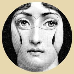"""Plate 305 from Piero Fornasetti's """"Theme and Variations"""" series Grey Plates, Piero Fornasetti, Grey Home Decor, Italian Painters, Woman Face, Pop Art, Poster Prints, Posters, Wall Art"""