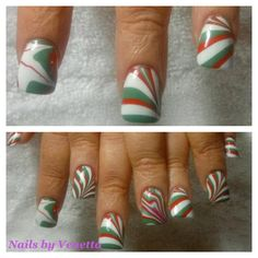 Christmas Water Marble Acrylic Nails