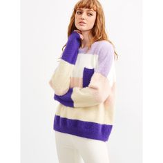 SheIn(sheinside) Color Block Drop Shoulder Mohair Sweater With Pocket ($21) ❤ liked on Polyvore featuring tops, sweaters, sweater pullover, loose sweaters, long sleeve pullover sweater, white mohair sweater and color-block sweater