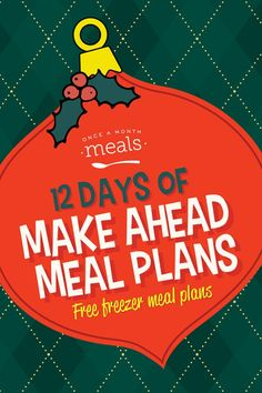 12 Days of Make Ahead Meal Plans Budget Freezer Meals, Frugal Meals, Freezer Recipes, Budget Recipes, Side Dish Recipes, Lunch Recipes, Meal Recipes, Cookie Recipes, Breakfast Recipes