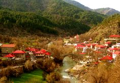 Vovousa Village, the only in Greece that is crossed by a river, . Places In Greece, Sandy Beaches, Beautiful Islands, Architecture Design, Tourism, Places To Visit, Country Roads, River, Outdoor