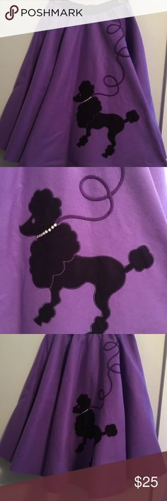 Halloween pick: poodle skirt This felt poodle skirt is beautifully made and very similar to an actual 50's poodle skirt. Fantastic costume piece that can be worn again and again for plays, halloween, and theme parties. The purple poodle really pops against the lighter purple background. Make the perfect costume by adding a white short sleeve button up shirt and a neck scarf. Waist size 32 but the waste band has some stretch too it! Skirts A-Line or Full