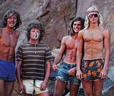 California climbing in the early 80s.  Werner Braun, Vern Clevenger, Ron Kauk, and John Bachar.  These 4 Stonemasters were responsible for some outrageously hard and creative routes.
