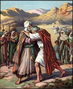 Jacob looked up and there was Esau, coming with his four hundred men; so he divided the children among Leah, Rachel and the two female servants. Description from childrenschurch.wordpress.com. I searched for this on bing.com/images