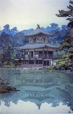 Japanese Ukiyo-e: Golden Pavilion. Hiroshi Yoshida. 1933 | The Gurafiku archive of Japanese graphic design is a collection of visual research surveying the history of graphic design in Japan.