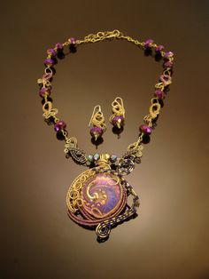 Purple dream woven wire necklace and earring set by DahyiitihiArts