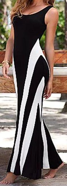 vestido longo duas cores acinturado decote tiras costas