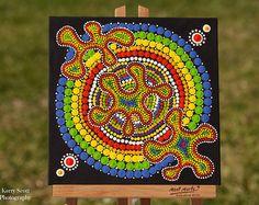 Arco iris Splat Original punto arte pintura acrílica sobre tablero de lona