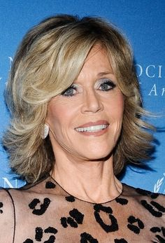 Jane Fonda A-line hairstyle with flicks