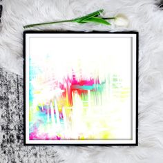 This large 30x30 inch printable abstract art is a modern touch for any home wall decor. Just download and print. #abstractart #largeart #printableart #madeincanada Wall Colors, House Colors, Bright Abstract Art, Rgb Color Space, Dining Room Art, Colorful Wall Art, Large Art, Printable Art, Modern Art