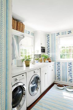 Blue And White Laundry Room Wallpaper Laundryroom Wall Decor Bat