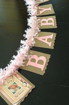 Baby Girl Shower Shabby Chic Banner by PoshBoxParties on Etsy Baby Shower Chair, Baby Shower Signs, Baby Banners, Shower Banners, Shabby Chic Banners, Baby Name Art, Storybook Baby Shower, Glitter Frame, Elegant Baby Shower