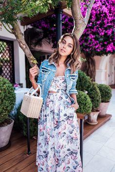 Zimmermann floral print dress + pearl denim jacket outfit