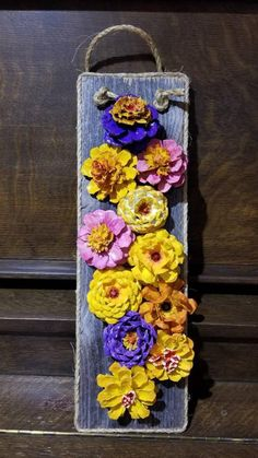 Made Wooden Crafts Handpainted, hand cut pinecones mounted on used weathered fence slats. Wooden slats measures 18 long by 6 wide. Any colors available upon request. Pine Cone Art, Pine Cone Crafts, Pine Cones, Fence Slats, Diy Fence, Fence Ideas, Summer Crafts, Fall Crafts, Diy And Crafts