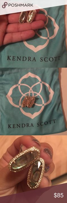 Kendra Scott Aston Studs These Aston studs are the beautiful, versatile abalone shell set in gold with a crystal lining. Earrings will come with their original backings and duster bag. Excellent, like new condition. These are sold out everywhere, so I'm only willing to part with them for their listed price. Kendra Scott Jewelry Earrings