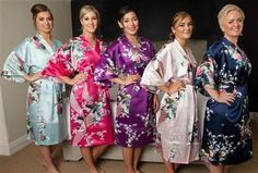 USDisc't Elegant Short Sleeve Printing Peacock Silk Women's Kimono Robe for Parties Wedding Bridal and Bridesmaid Bridal Party Robes, Bridal Gifts, Floral Kimono, Kimono Top, Bridesmaid Robes, Purple Dress, Peacock, Pink White, Gowns