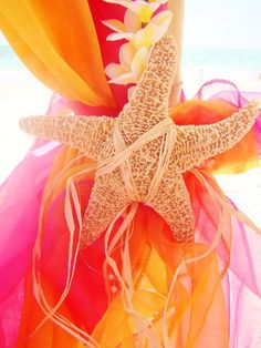 #orange #hot pink #yellow starfish tie back