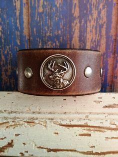 MEN'S Deer Hunting Leather Cuff Bracelet  by BellaNotteDesigns