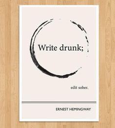 Illustrated Ernest Hemingway Quote Print