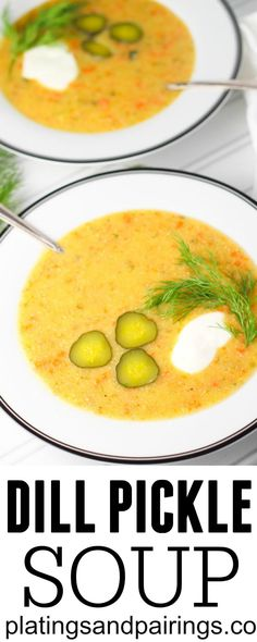 One-Pot Homemade Dill Pickle Soup! We've never heard of dill pickle soup, but we're in to trying this one. One-Pot Homemade Dill Pickle Soup! We've never heard of dill pickle soup, but we're in to trying this one. One-Pot Ho Chili Recipes, Soup Recipes, Salad Recipes, Cooking Recipes, Dill Pickle Soup, Dill Pickle Chips, Bacon Cheeseburger Soup, Creamy Potato Soup, Potluck Dishes