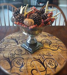 Love Fall!  <3  Pictured Here: Mary & Martha Brown Luster Bowl, standing on the gorgeous Lazy Susan.  More at www.maryandmartha.com.