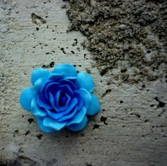 blue rose ringblue flower ringrose clay by jewelryfoodclay on Etsy
