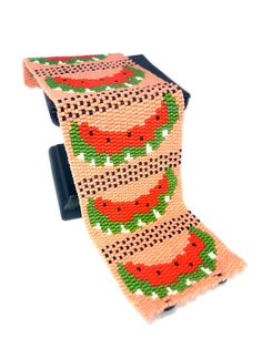 Comfortable. Easy to wear. Simple yet Elegant.  This fruitylicous cuff bracelet was designed by my 7-year old niece, featuring five ripe watermelons