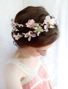 blush pink wedding hair flower wreath - SUGAR FROST - cherry blossom bridal accessory / flower girl headband. $105.00, via Etsy.