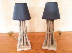Deux Lampes en bois flotté par l'Atelier de Corinne : Luminaires par atelier-de-corinne