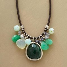 """Twinkling gemstones float along a leather strand. Polki cut aventurine rimmed in sterling silver amongst iolite, chalcedony, chrysoprase and light blue quartz. Exclusive. Sliding knots adjust to 24""""L."""