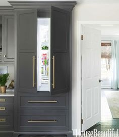 Let's face it, appliances aren't that pretty. Masking a fridge with cabinetry facing is much more elegant!