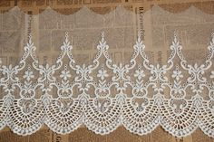 5 yards Cotton Lace Fabric Trim Floral Gauze by charmflower, $30.00