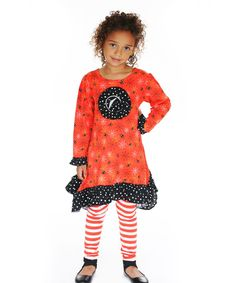 Jelly The Pug Orange Boo-Tiful Erica Dress & Leggings - Girls 24M, 2T, 4 #JellythePug #EverydayHoliday