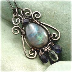 SOLD  Labradorite Pendant .925 sterling silver necklace, Natural, Aquamarine, and Iolite gemstones.