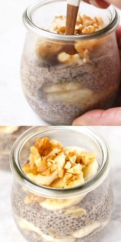 You are going to love this homemade Banana Bread Chia Pudding! It's only 5 ingredients, tastes so good and is naturally sweet. What I love about using banana is that because it's so sweet, you don't need to add extra sugar. Healthy, easy, from-scratch rec Healthy Breakfast Recipes, Healthy Snacks, Snack Recipes, Healthy Sweets, Healthy Filling Breakfast, Chicken Breast Recipes Healthy, Healthy Recipes, Dog Recipes, Healthy Baking