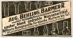 Original-Werbung/Anzeige 1905 - SCHRAUBEN / AUGUST BEHLING - BARMER - ca. 90 x 45 mm