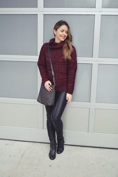 Marsala Knit Sweater + Vegan Leather Skinnies