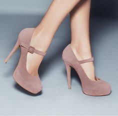 Mary Jane Heels in Blush Suede