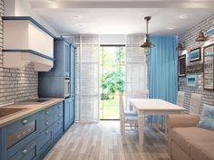 кухня столовая расположение !диван! Фотография - Кухня и столовая, стиль: Кантри…