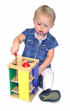 Melissa & Doug Pound and Roll Tower Toddler Toy $19.99 We've taken the classic pounding toy to new heights! Knock the four brightly colored balls through the holes, then watch and listen as they roll down the ramps. Sturdy wooden hammer included.