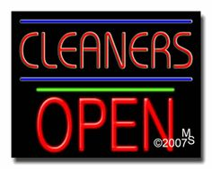 "Cleaners Open Neon Sign - Block Text - 24""x31""-ANS1500-5278-1g  31"" Wide x 24"" Tall x 3"" Deep  Sign is mounted on an unbreakable black or clear Lexan backing  Top and bottom protective sides  110 volt U.L. listed transformer fits into a standard outlet  Hanging hardware & chain included  6' Power cord with standard transformer  Includes 2nd transformer for independent OPEN section control  For indoor use only  1 Year Warranty on electrical components."