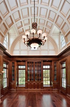 Home Office. Check out that ceiling!! Curved Coffered.