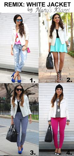 Cream leather jacket, bf jeans or skater skirt or chiffon shirt or sweater and colored denim or pattern pants like brocade pants