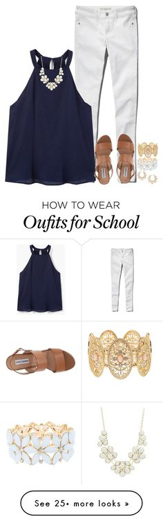 """Saw my future husband at school today 😂"" by stripedprep on Polyvore featuring Abercrombie & Fitch, MANGO, Steve Madden, Charlotte Russe and Forever 21"