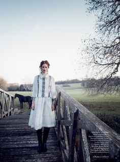 Magdalena Jasek models dreamy dresses for Harper's Bazaar UK March 2016 by Regan Cameron  [fashion]
