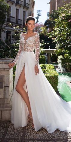 illusion long sleeves wedding dresses floral appliques with slit romantic giovanna alessandro
